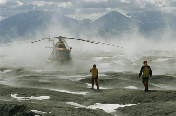 Kamchatka Photograph - Volcanology Team Await A Helicopter by Carsten Peter