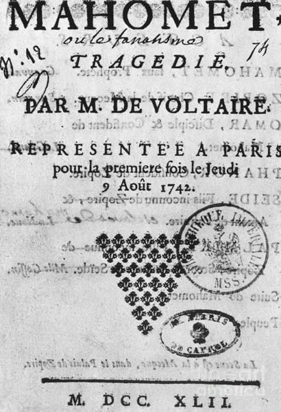 Francois Marie Arouet Photograph - Voltaire: Mahomet, 1742 by Granger
