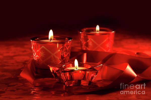 Wall Art - Photograph - Votive Candles On Dark Red Background by Sandra Cunningham