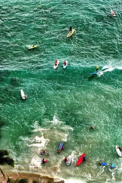 Waikiki Surfing Art Print