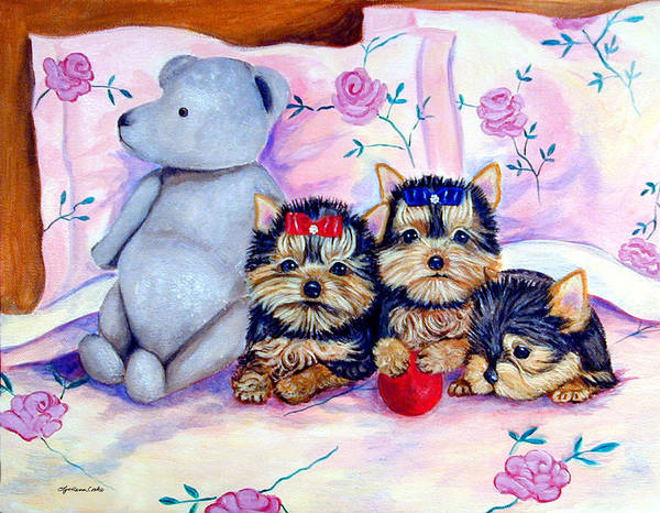 Teddy Bear Painting - Waiting For Mom - Yorkshire Terrier by Lyn Cook