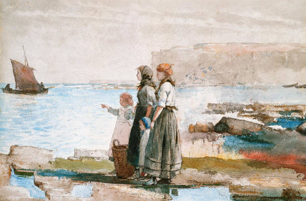 Boat Ride Wall Art - Painting - Waiting For The Return Of The Fishing Fleets by Winslow Homer