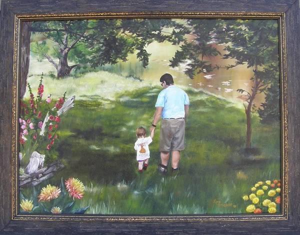 Painting - Walk With Dad Framed by Lori Brackett