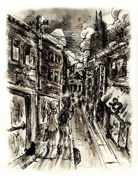 Illinois Drawing - Walkin In The City by Rachel Christine Nowicki