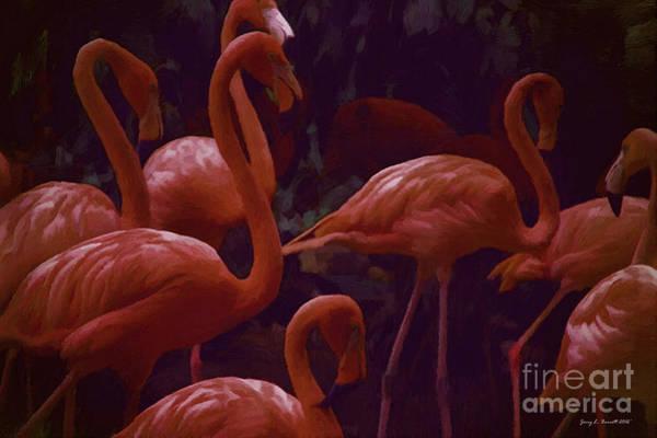 Mixed Media - Walking Flamingos by Jerry L Barrett