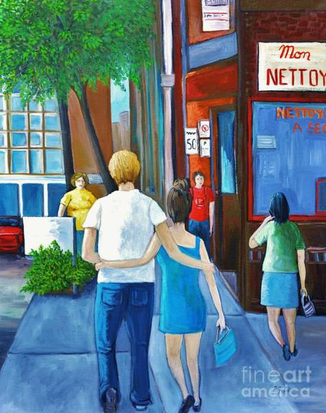 Montreal Street Scene Wall Art - Painting - Walking On A Sunny Day by Reb Frost