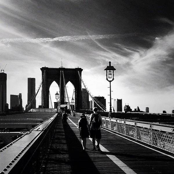 Black And White Photograph - Walking Over The Brooklyn Bridge - New York City by Vivienne Gucwa