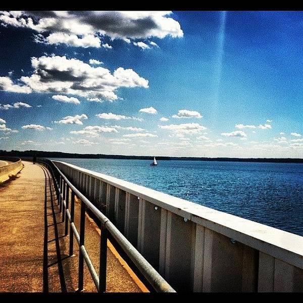 Run Photograph - Walking The Dam  by Lea Ward
