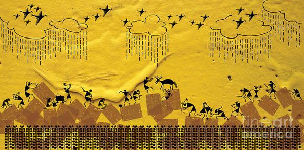 Interaction Painting - Warli Hunting by Subhash Limaye