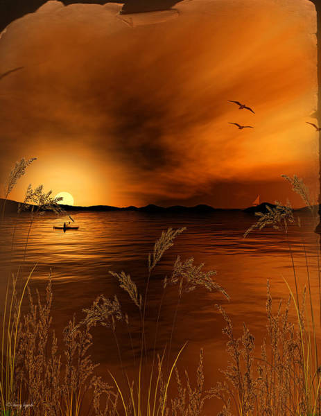 Digital Art - Warmth Ablaze - Gold Art by Lourry Legarde