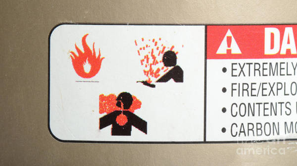 Flammable Wall Art - Photograph - Warning Label by Photo Researchers, Inc.