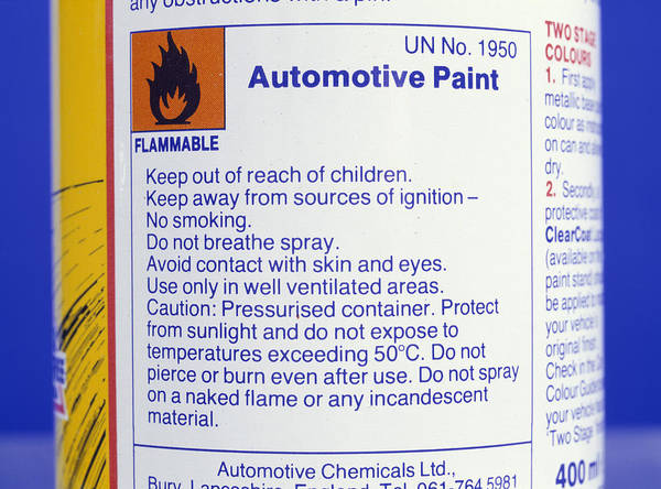 Flammable Wall Art - Photograph - Warning On Aerosol Can by Andrew Lambert Photography