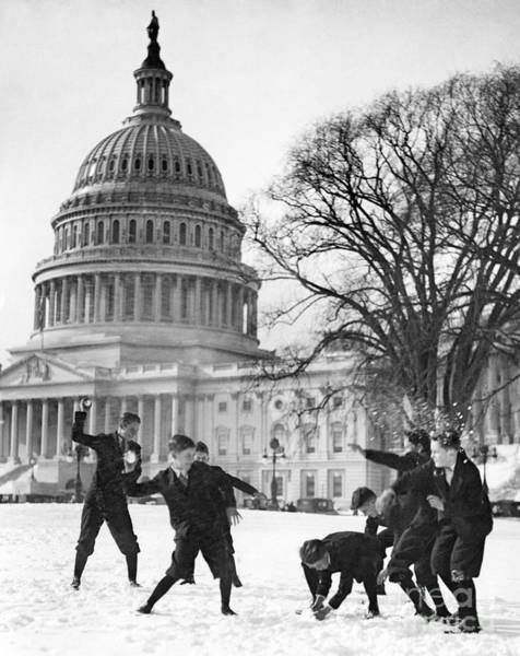 Photograph - Washington: Snow Fight by Granger