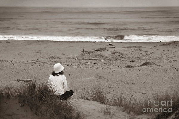 Watching The Ocean In Black And White Art Print