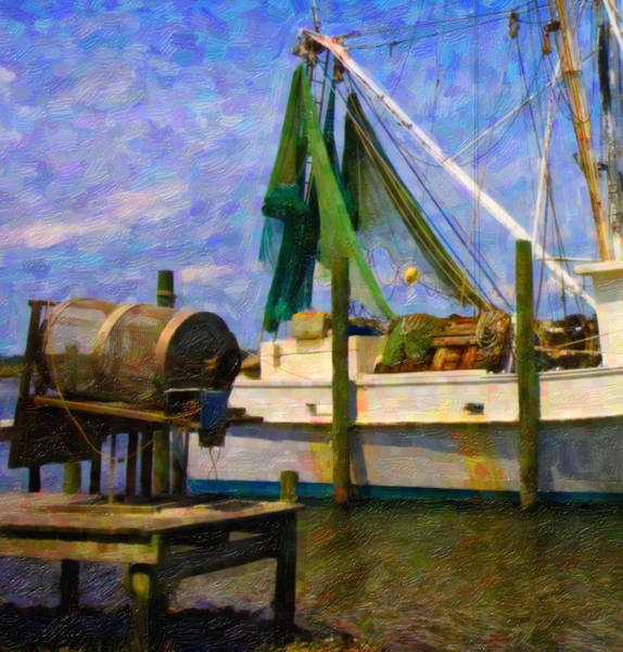 Shrimp Boat Wall Art - Digital Art - Watching Within A Frame by Betsy Knapp