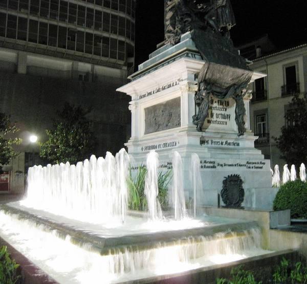 Photograph - Water Fountain At Night Granada Spain by John Shiron