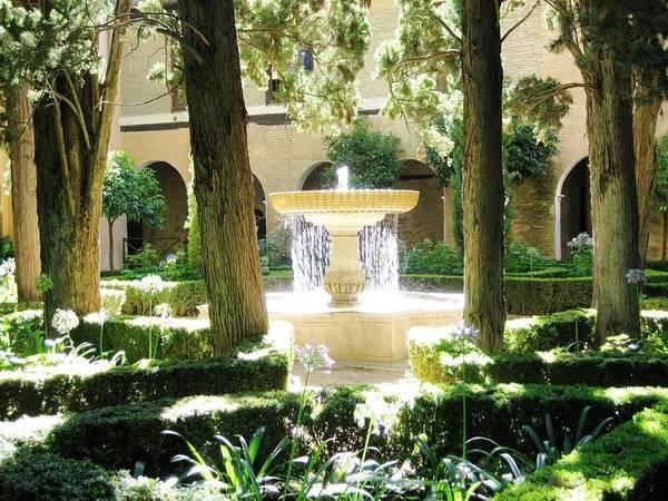 Photograph - Water Fountain With Sunlight Shinning Thru It Granada Spain by John Shiron