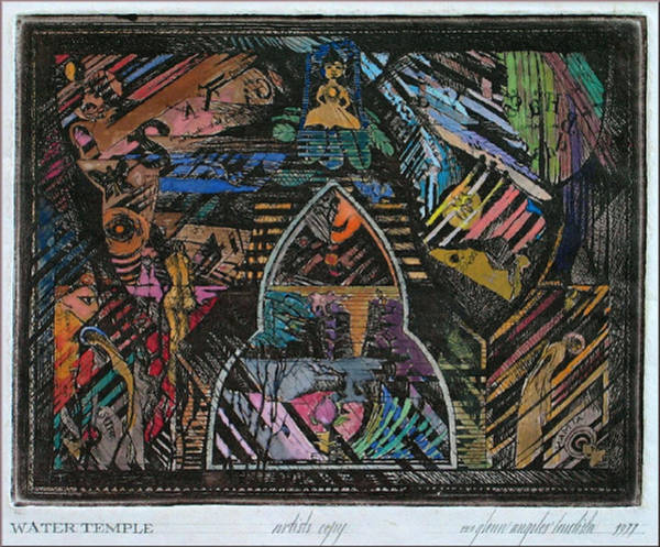 Drawing - Water Temple Of Betsy 1977 by Glenn Bautista