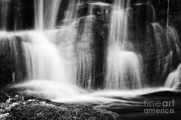 Photograph - Waterfall Detail Black And White by David Waldrop