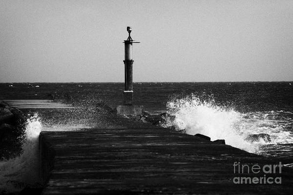 Barmouth Photograph - Waves Breaking On Pier Bann Mouth County Derry Londonderry Northern Ireland by Joe Fox
