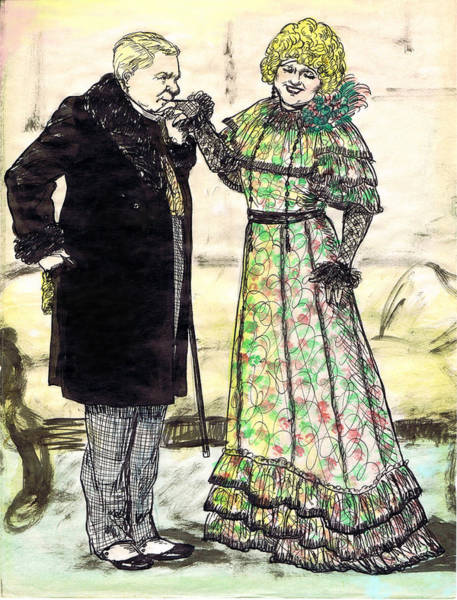 Flirting Drawing - W.c.fields And Jan by Mel Thompson