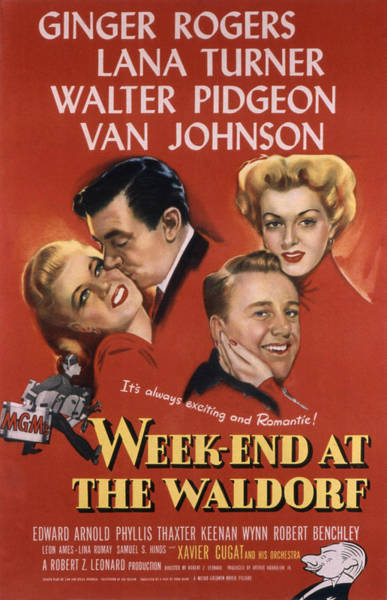 Van Johnson Photograph - Weekend At The Waldorf, Ginger Rogers by Everett