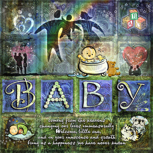 Adoption Wall Art - Digital Art - Welcome Baby Boy by Evie Cook