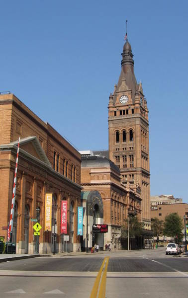 Photograph - Wells Street Theater District And City Hall by Anita Burgermeister