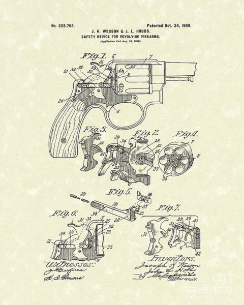 Drawing - Wesson And Hobbs Revolver 1899 Patent Art by Prior Art Design