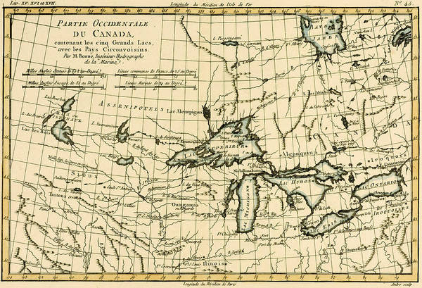 Mapping Drawing - Western Canada And The Five Great Lakes by Guillaume Raynal