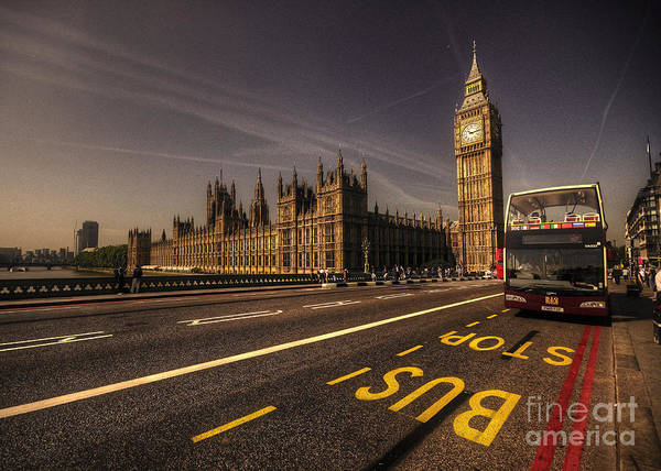 Wall Art - Photograph - Westminster Bus Stop by Rob Hawkins