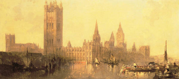 Houses Of Parliament Wall Art - Painting - Westminster Houses Of Parliament by David Roberts