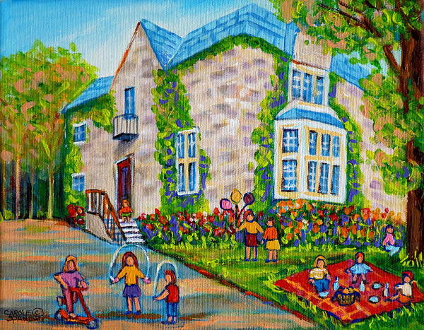 Skip Rope Painting - Westmount Birthday Party-montreal Urban Scene-little Girls Playing by Carole Spandau