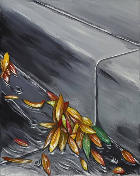 Wall Art - Painting - Wet Leaves by David Junod