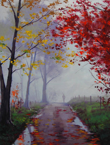 Trails Wall Art - Painting - Wet Misty Day by Graham Gercken