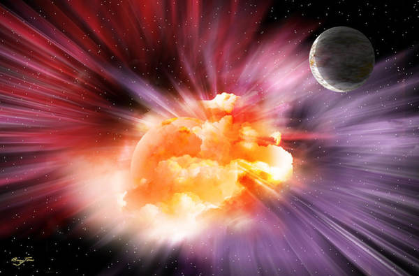 Digital Art - When Black-holes Collide by Barry Jones