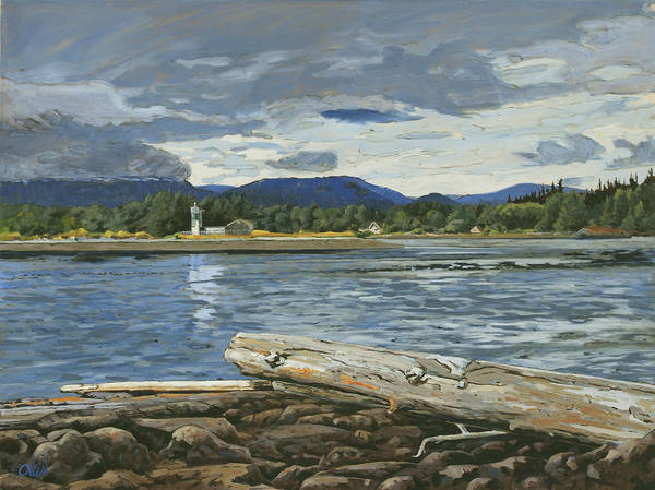 Painting - Whiffin Spit Sooke Hills by Rob Owen