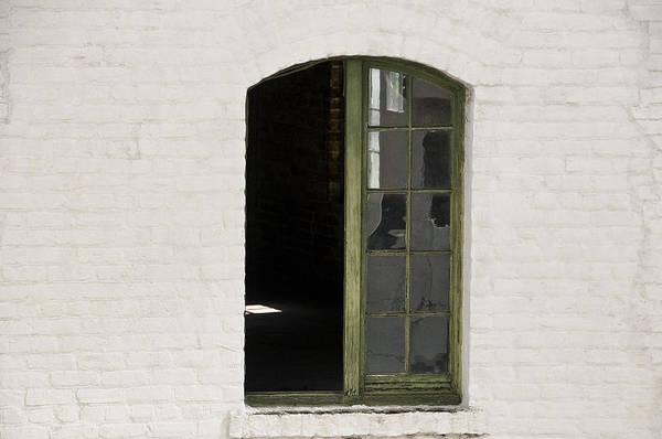 Wall Art - Photograph - White Brick And Broken Window by Ray Laskowitz