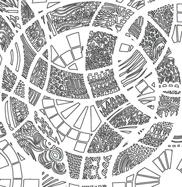 Wall Art - Digital Art - White Doodle Circles by Karen Elzinga