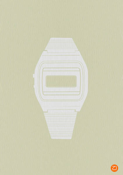 Clock Wall Art - Photograph - White Electronic Watch by Naxart Studio