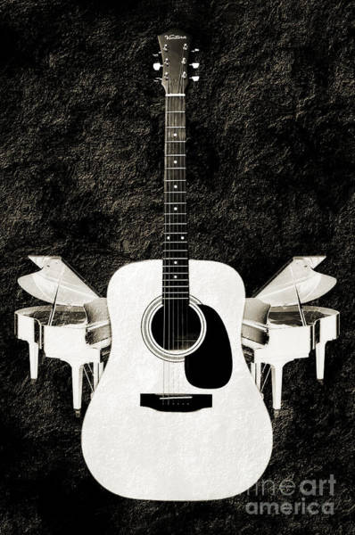 Photograph - White Guitar Butterfly by Andee Design
