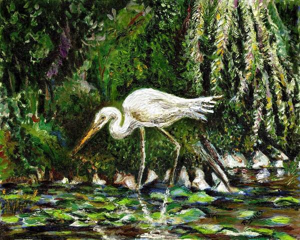 Painting - White Heron by Richard Jules