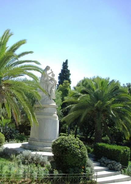 Photograph - White Statue In Garden Of Temple Of Zeus In Athens Greece by John Shiron