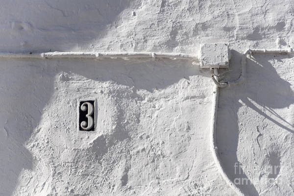 Photograph - White Wall With Number 3 Plate by Agnieszka Kubica