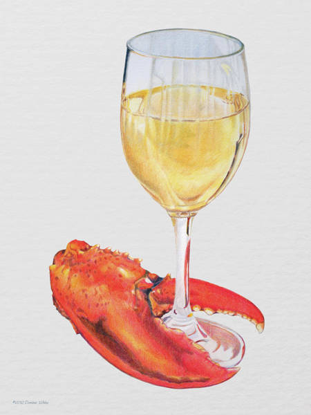 White Wine And Lobster Claw Art Print