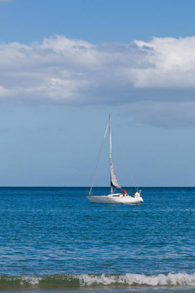 Expanse Photograph - White Yacht Sails In The Sea Along The Coast Line by U Schade
