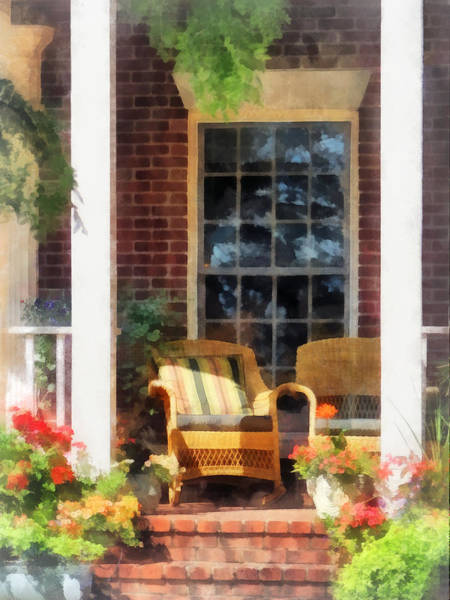 Photograph - Wicker Chair With Striped Pillow by Susan Savad