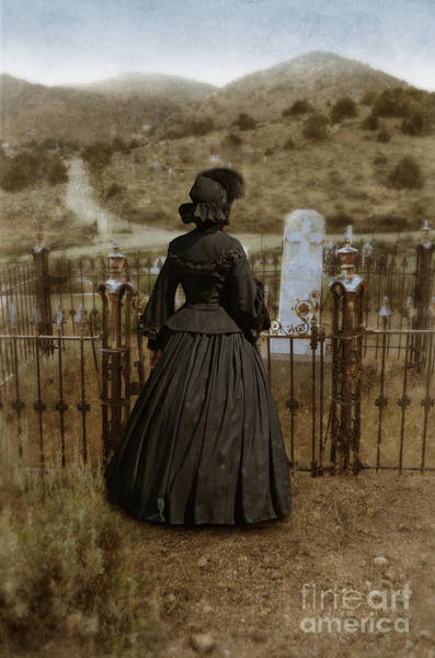 Western Costume Photograph - Widow At The Cemetery by Jill Battaglia
