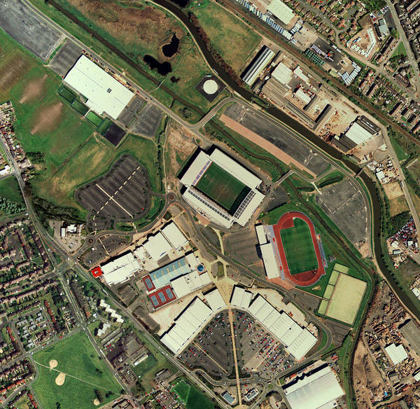 Manchester United Fc Wall Art - Photograph - Wigan Athletic's Jjb Stadium, Aerial View by Getmapping Plc