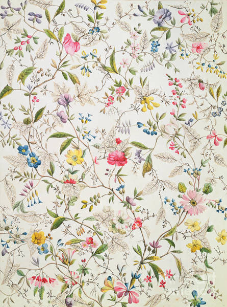 Tapestries Textiles Wall Art - Painting - Wild Flowers Design For Silk Material by William Kilburn
